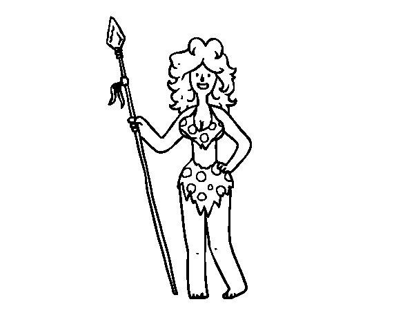 Troglodyte woman coloring page