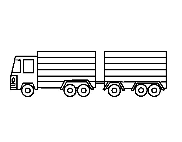 Truck with trailer coloring page
