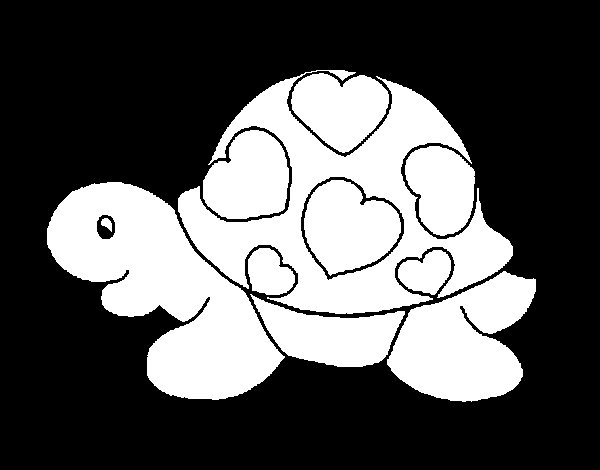 Turtle with hearts coloring page