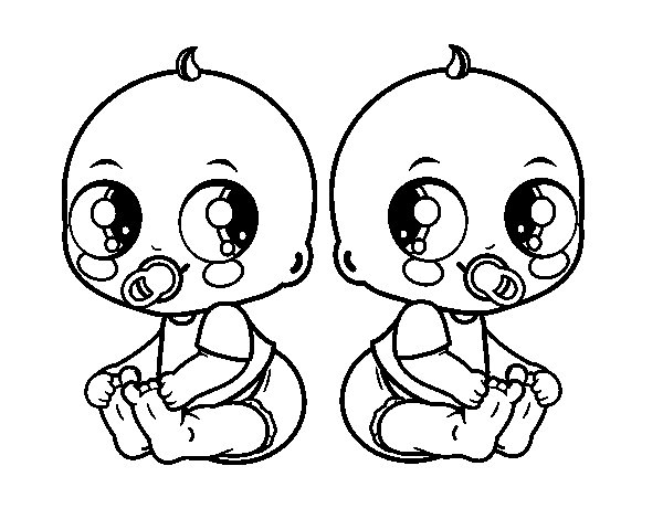 Twin Babies Coloring Page