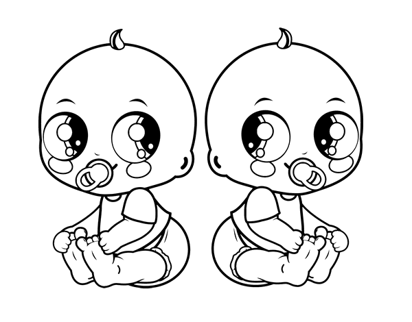 Free Coloring Pages Of Twin Baby