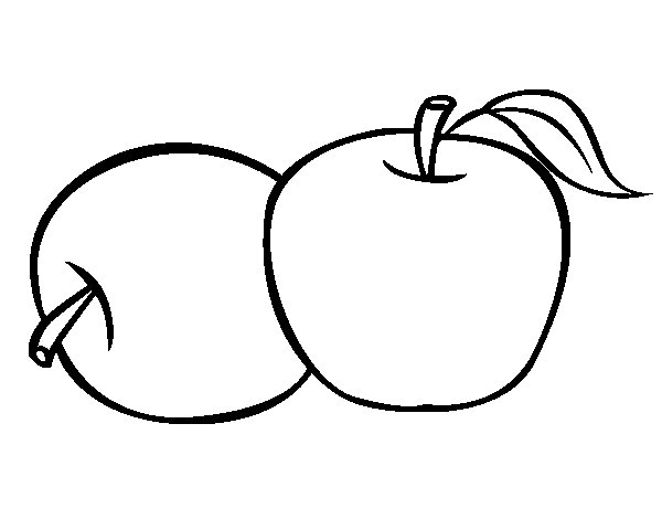 Two apples coloring page
