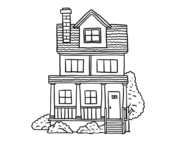 Two-story house with attic coloring page - Coloringcrew.com