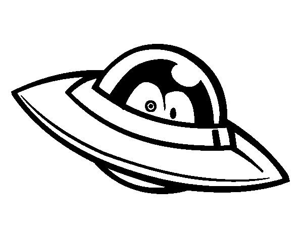 Ufo with eyes coloring page