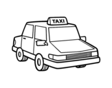 Urban taxi coloring page