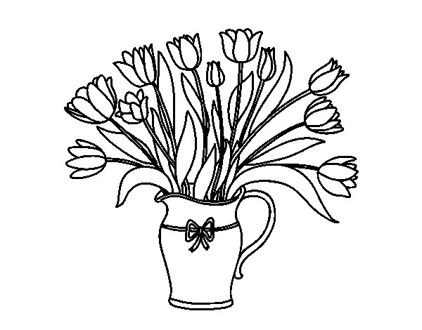 Vase of tulips coloring page