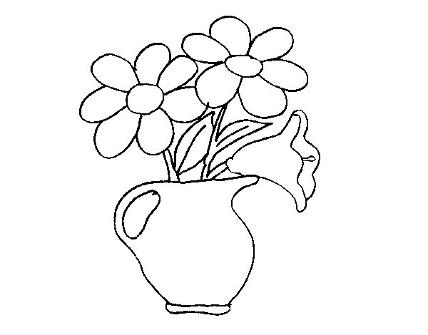 Vase with daisies coloring page