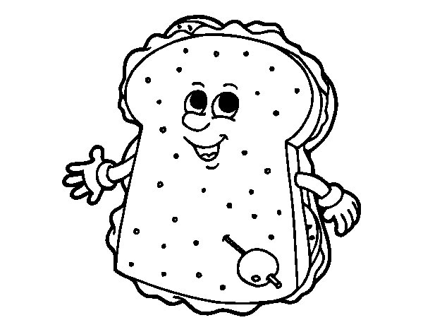 Vegetable sandwich with olives coloring page for Sandwich coloring page