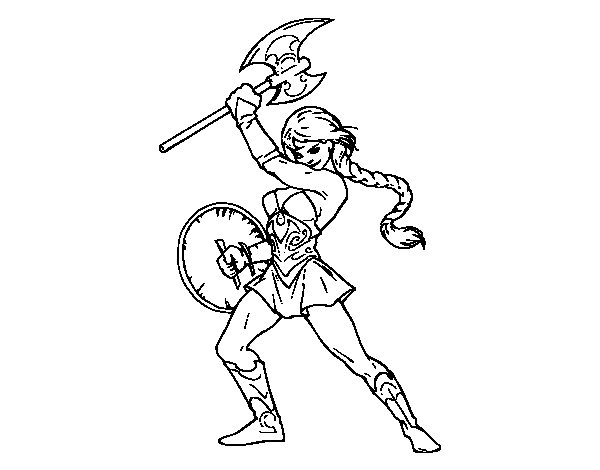 Viking heroine coloring page