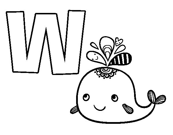 W of Whale coloring page