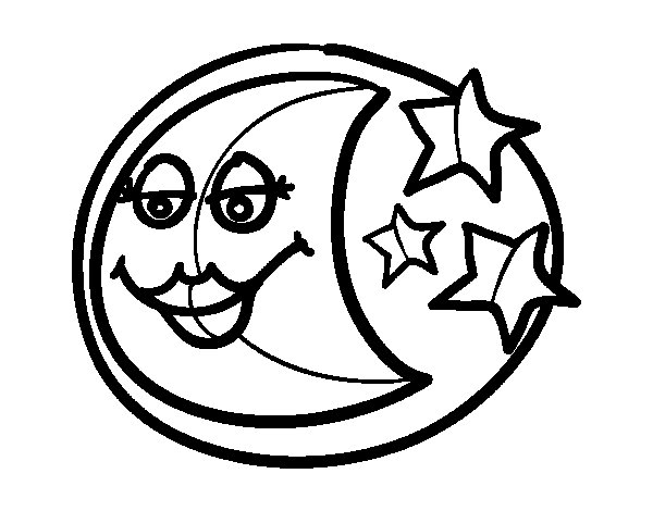 Waning moon coloring page