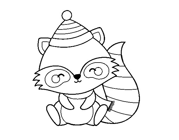 Warm raccoon coloring page