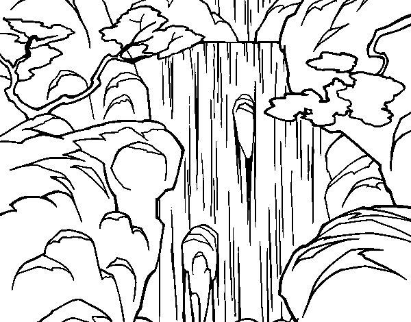 waterfall coloring page - Coloring Page Waterfall