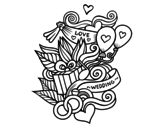 Wedding collage coloring page