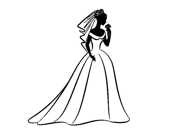 Wedding dress and veil  coloring page