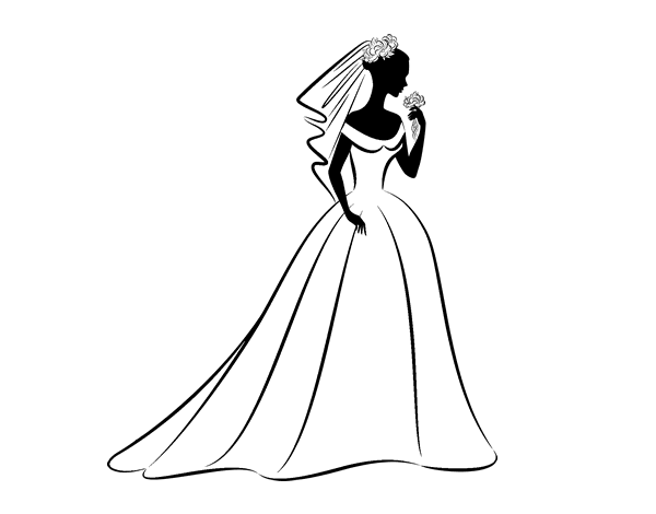 Wedding Dress And Veil Coloring Page Coloringcrewcom