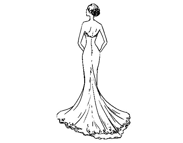 Wedding dress with tail coloring page