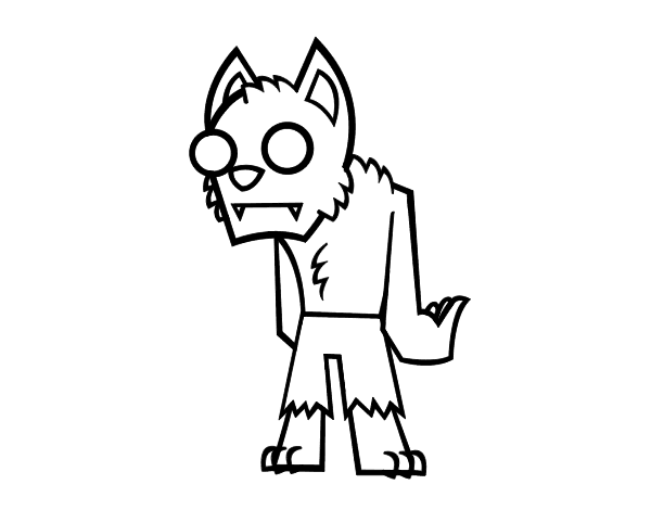 free coloring pages of haw to draw a wolf man
