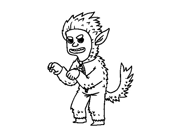 Werewolf costume coloring page