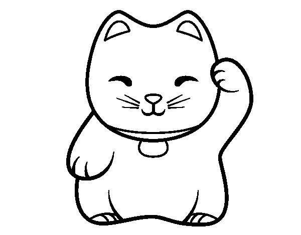 White Maneki-neko coloring page