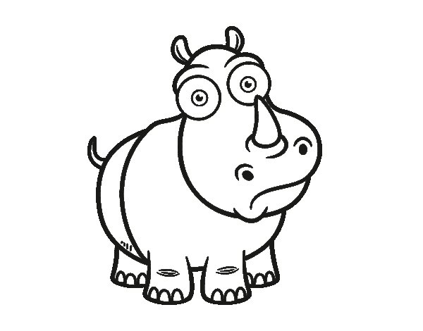 White rhinoceros coloring page