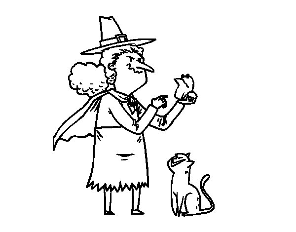 Wicked Witch with frog coloring page