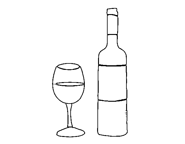 Wine Bottle And Glass Coloring Page