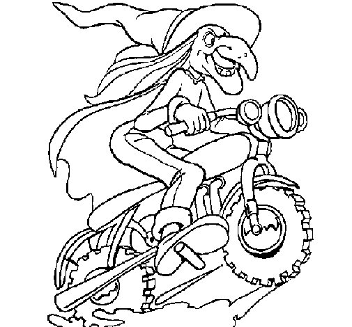 Witch on motorbike coloring page