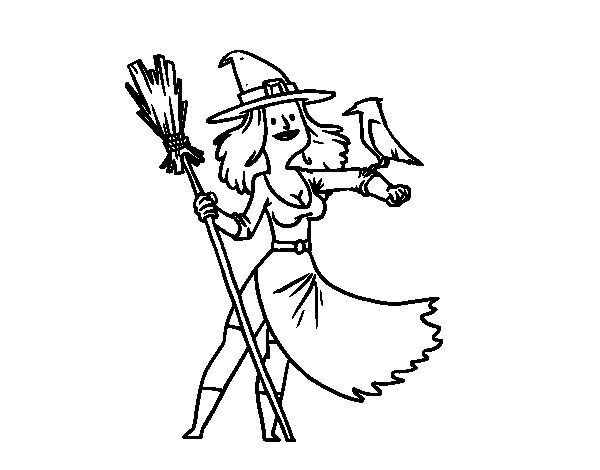 Witch with Falcon coloring page