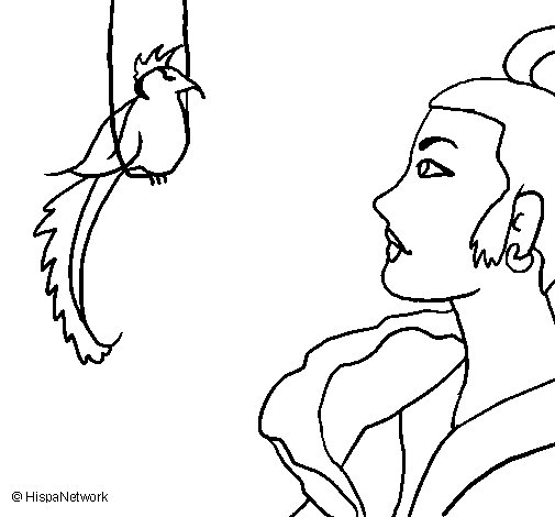 Woman and bird coloring page