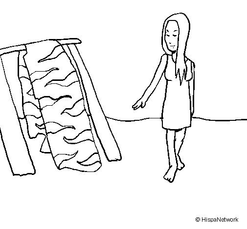 Woman drying skin coloring page