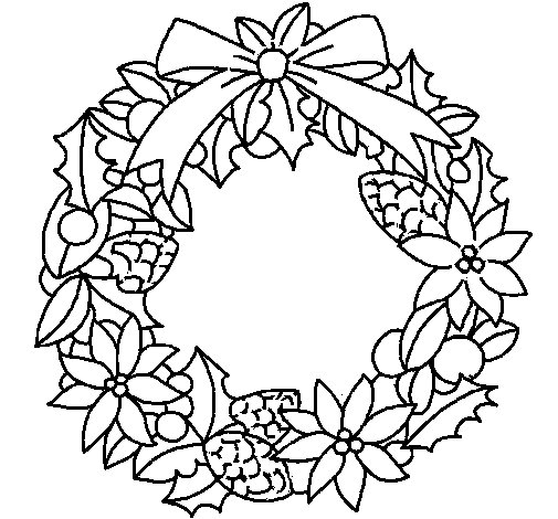 Wreath of Christmas flowers coloring page
