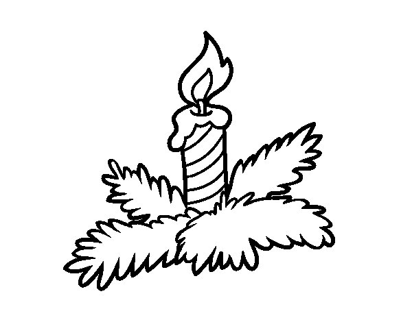 Xmas candle coloring page