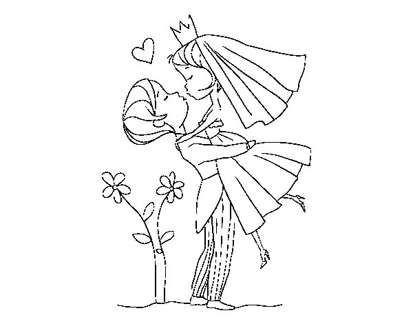 You can kiss the bride coloring page