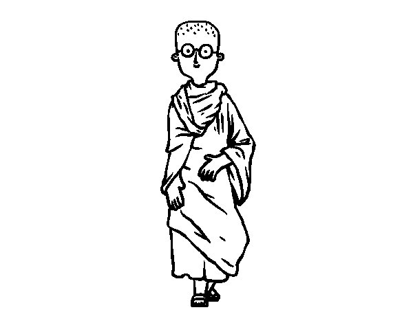 Young Buddhist coloring page