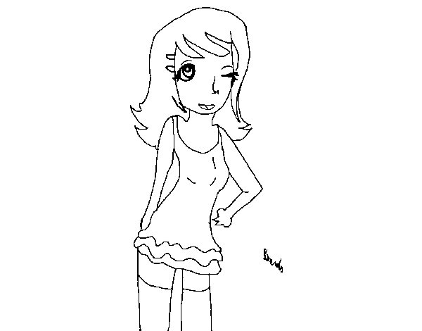 Young woman winking coloring page