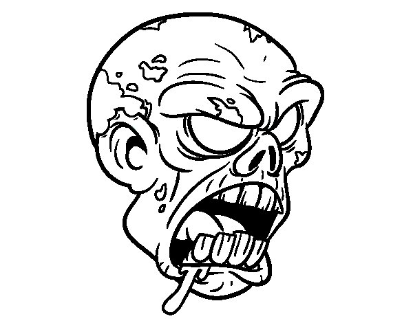 Zombie Head Coloring Page