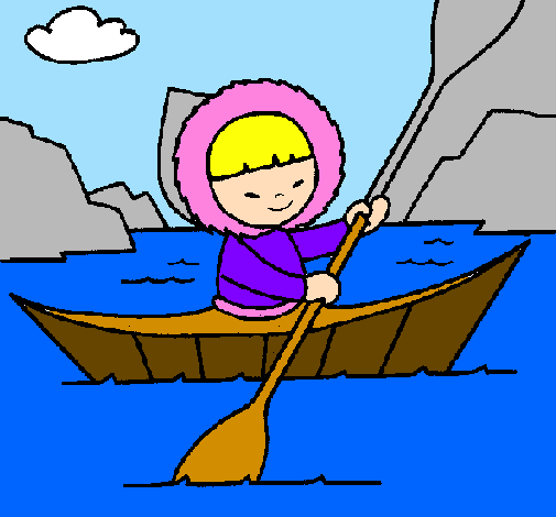 Coloring page Eskimo canoe painted bywillsie