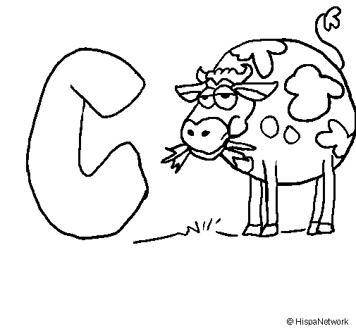 Coloring page Cow painted byc
