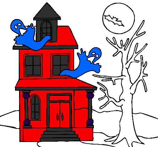 Colored Page Ghost House Painted By Lena