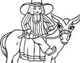 Coloring page Indian on a donkey painted byrrrrrrrrrrrrrrrrrrrrrrrrr