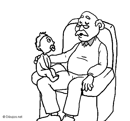 Coloring page Grandfather and grandchild painted bytiziana