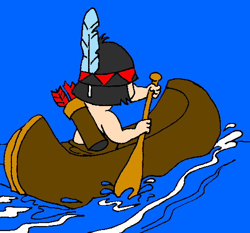 Coloring page Indian paddling painted bygrilo