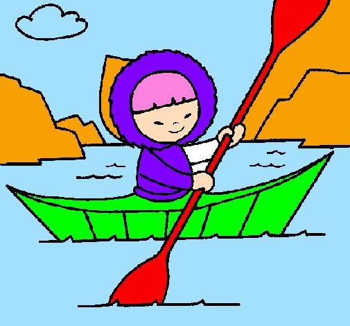 Coloring page Eskimo canoe painted bytiziana