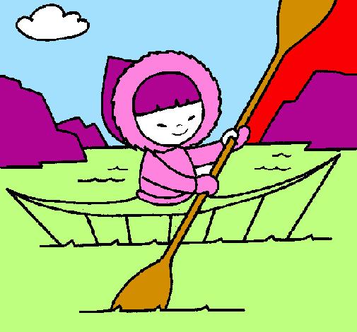Coloring page Eskimo canoe painted bypanda_cara