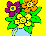 Coloring page Vase of flowers painted byisabellv