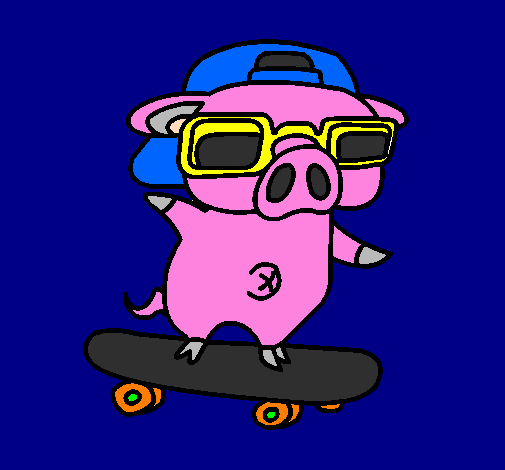 Coloring page Graffiti the pig on a skateboard painted byTrevor-Francis