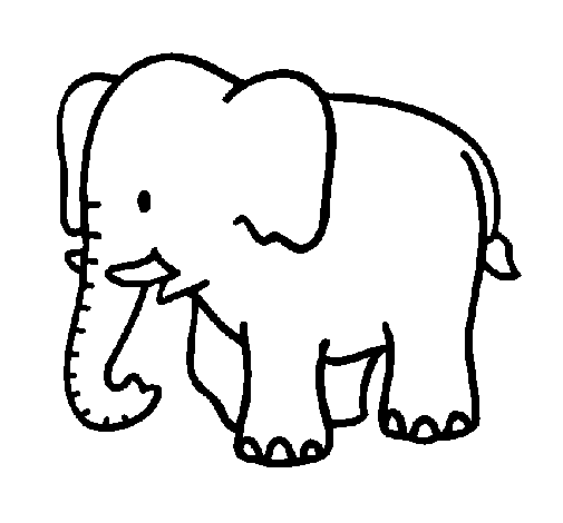 Coloring page Baby elephant painted bycara