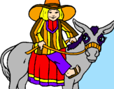 Coloring page Indian on a donkey painted bypicasso