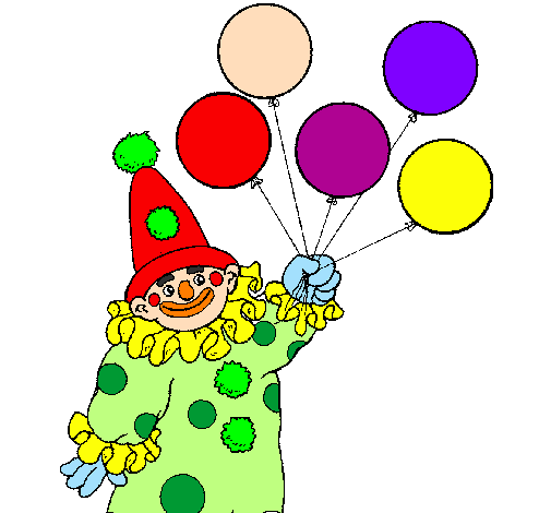 clown with balloons - Clown Balloons Coloring Page